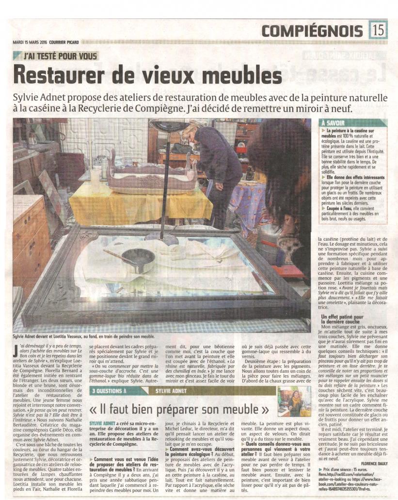 Courrier Picard Du 15 Mars 2016 Restaurer De Vieux Meubles
